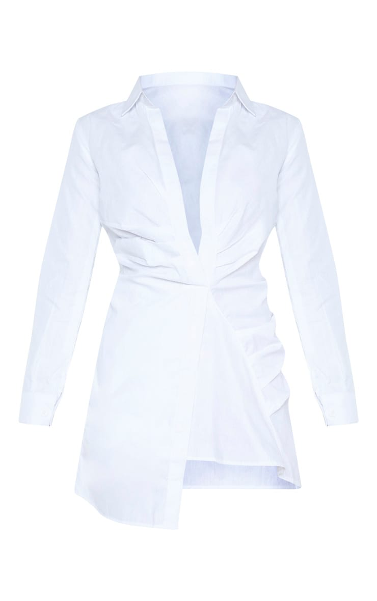 White Ruched Front Shirt Dress 3
