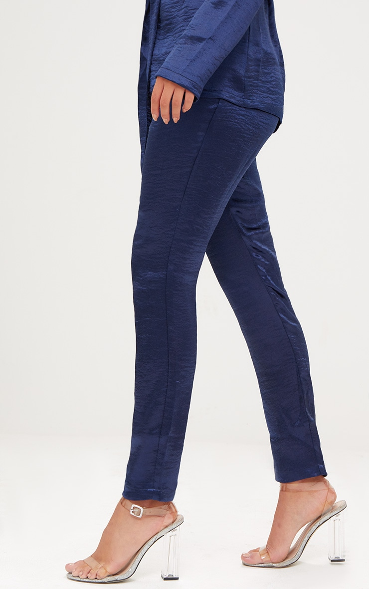 Navy Hammered Satin Trousers 4