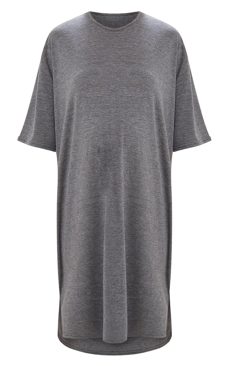 Charcoal Jersey Stepped Hem T Shirt Dress 3