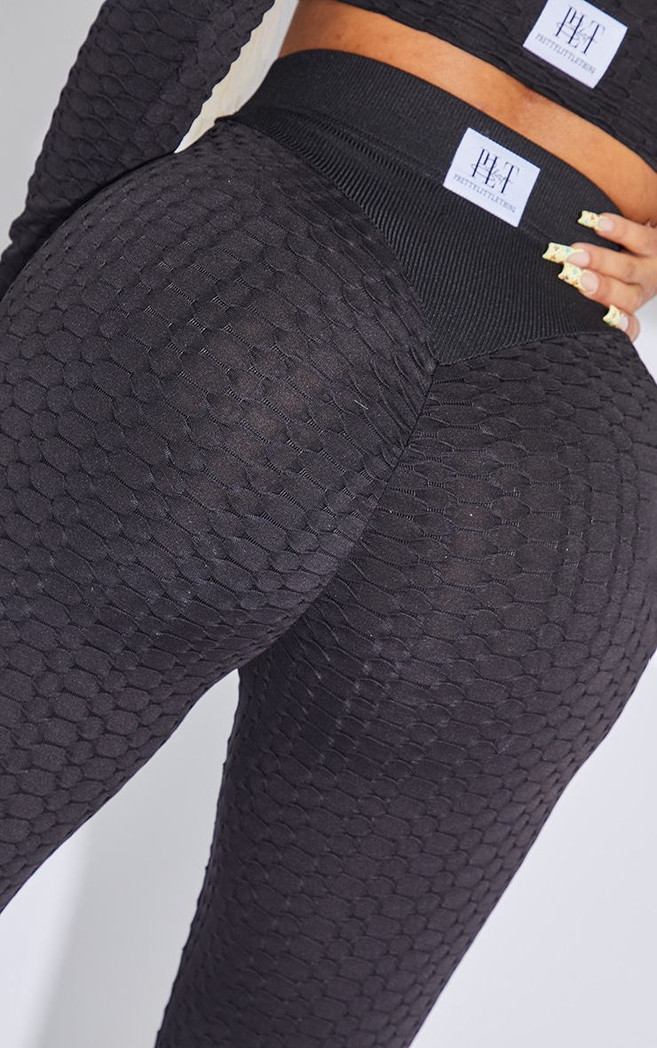 PRETTYLITTLETHING Shape Black Textured Ruched Bum Gym Leggings 4