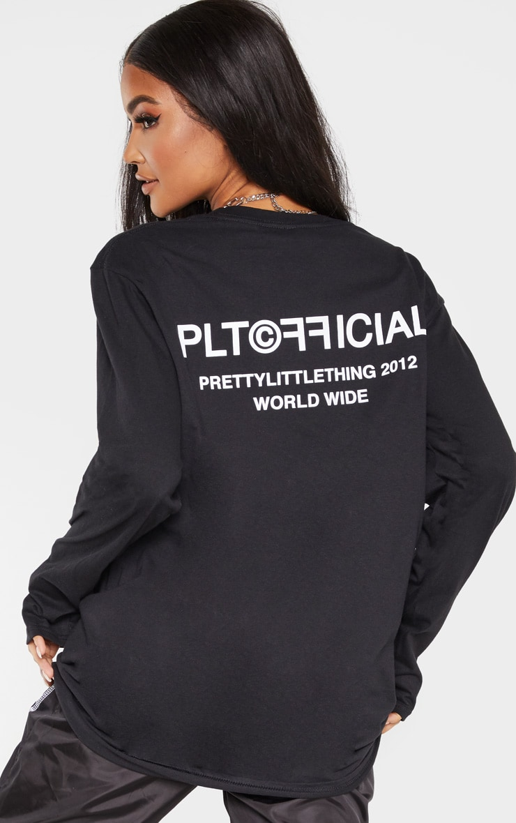 PRETTYLITTLETHING Black Official Slogan Long Sleeve T Shirt 4
