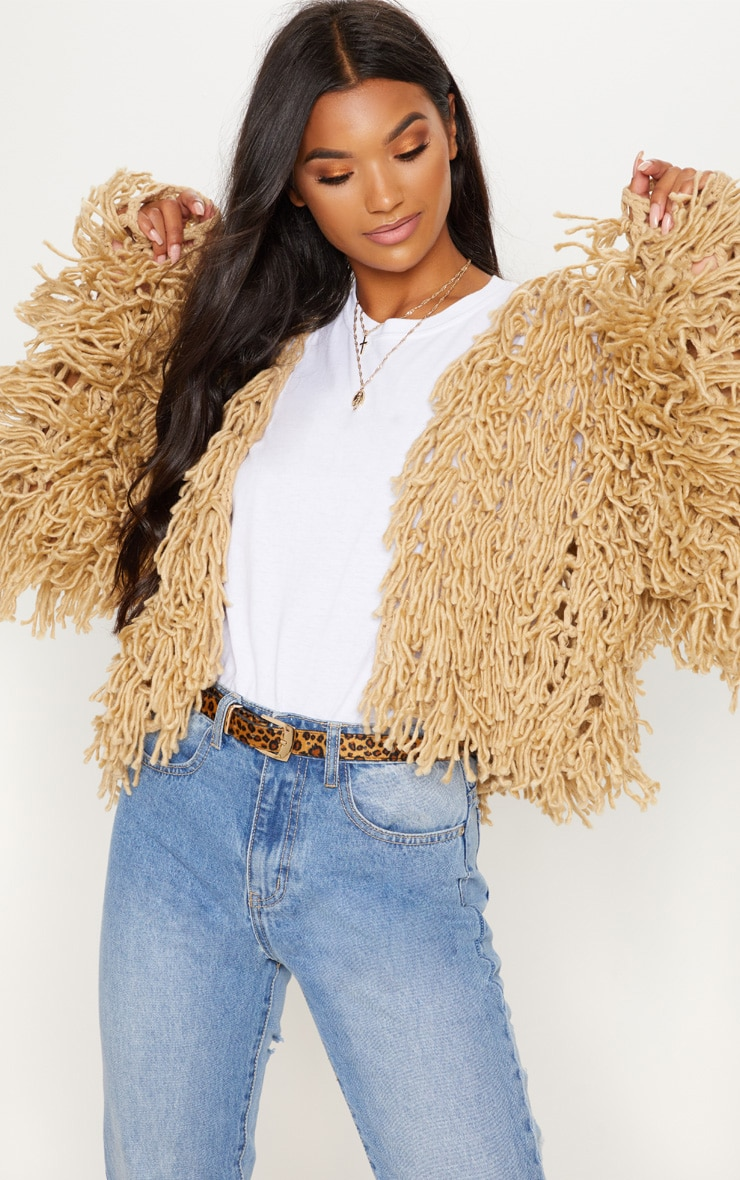 Camel Shaggy Knitted Cardigan
