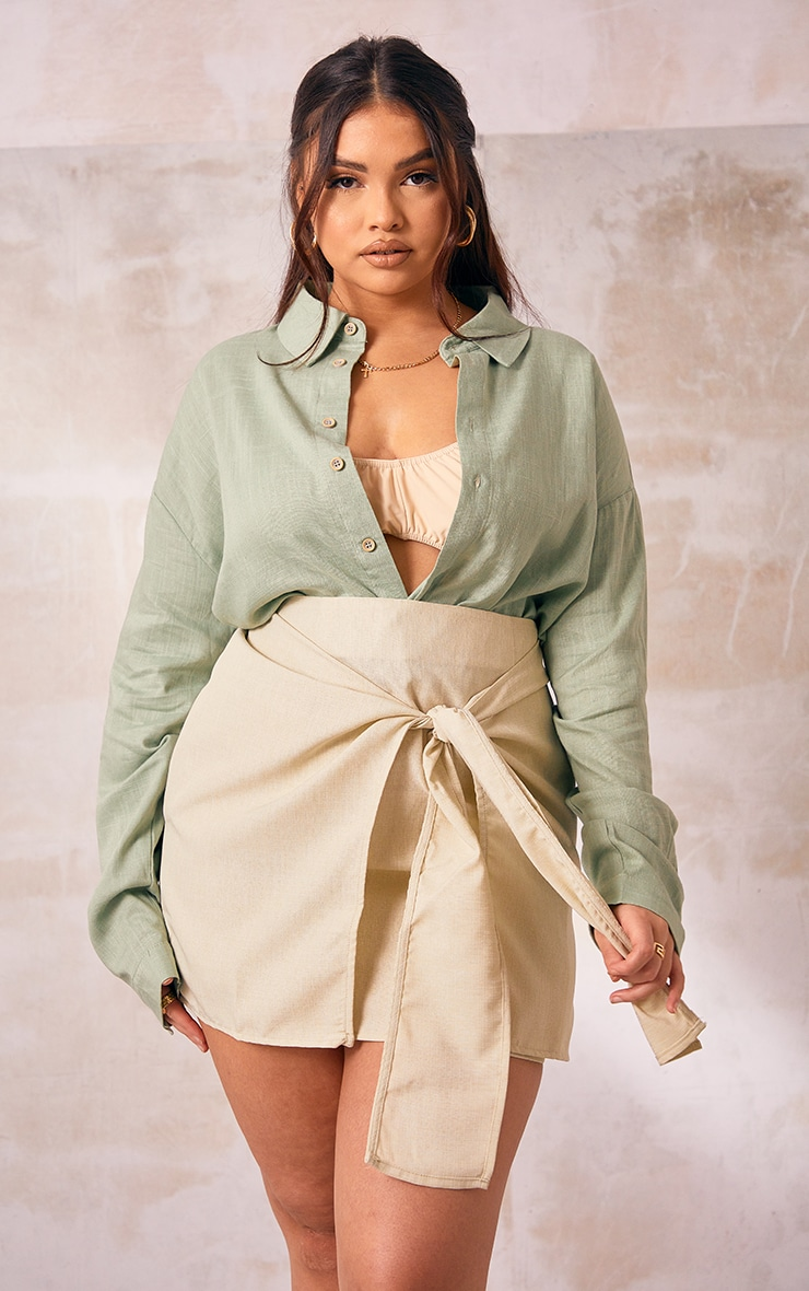 Plus Sage Green Linen Look Crop Shirt