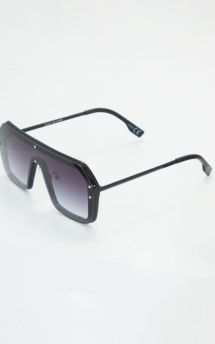 Black Flat Bar Square Framed Sunglasses 4