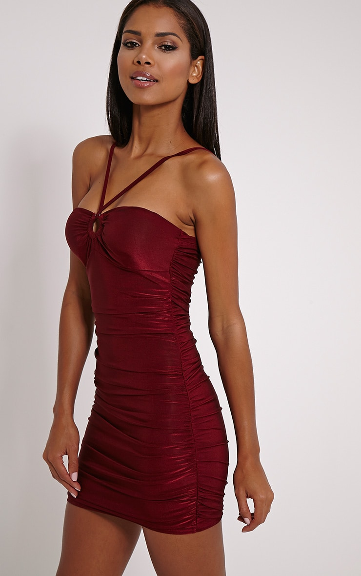 Palia Wine Slinky Tie Neck Mini Dress 1