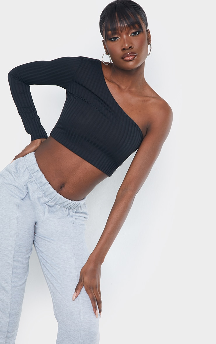 Tall Black Ribbed One Shoulder Crop Top 1