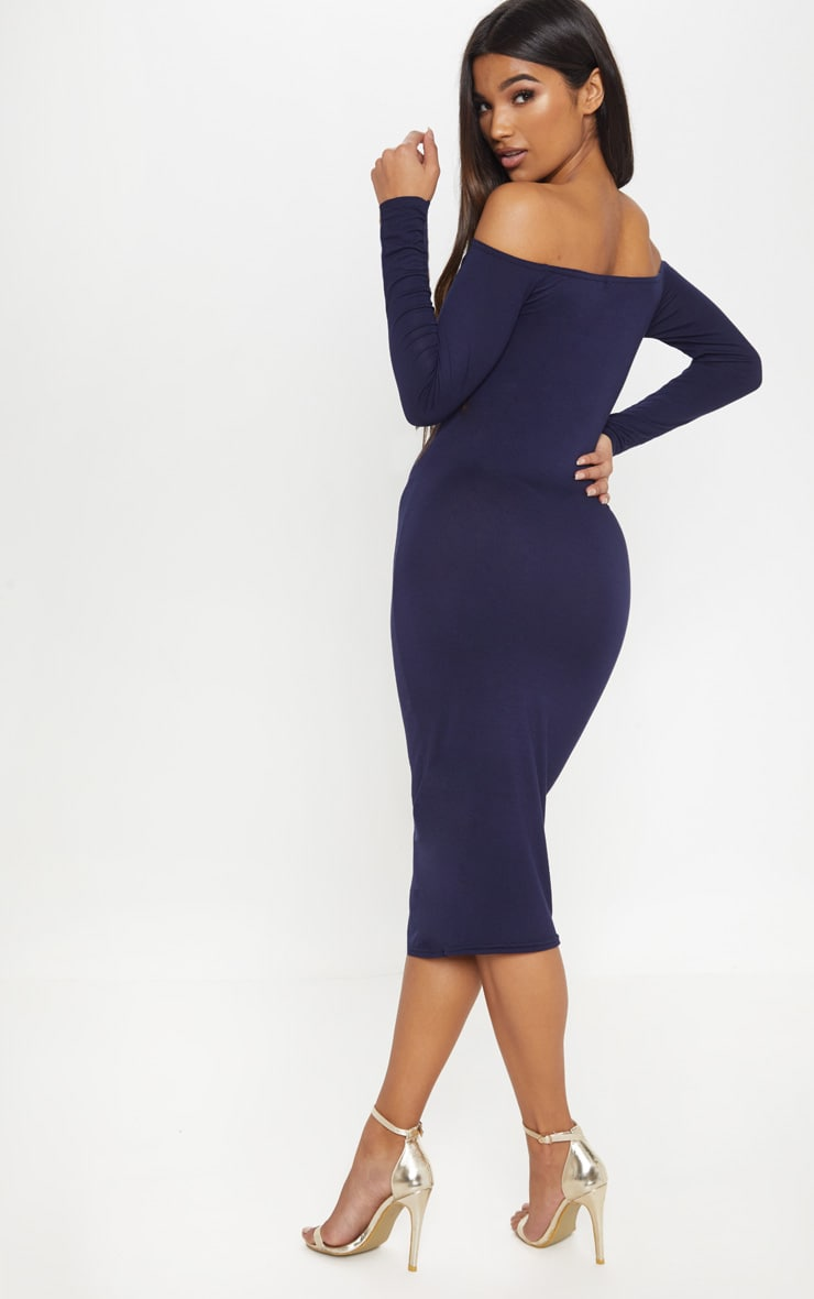 Basic Navy Jersey Bardot Midi Dress 2