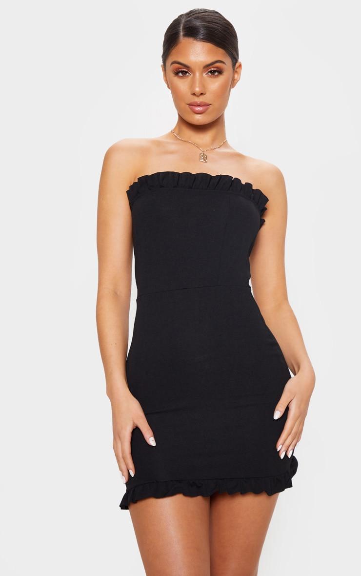 Black Bandeau Frill Bodycon Dress 1