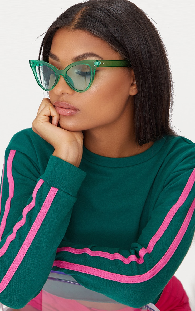 Green Acrylic Cat Eye Sunglasses 2