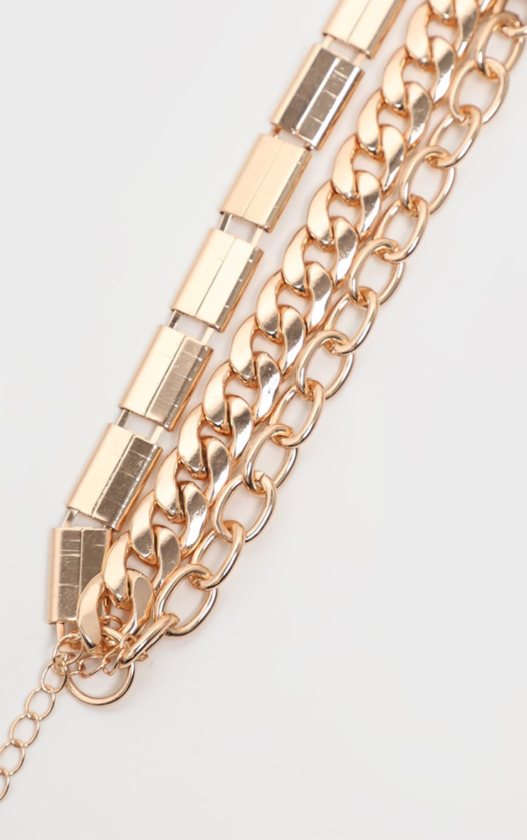 Gold Triple Chain Bracelet 3