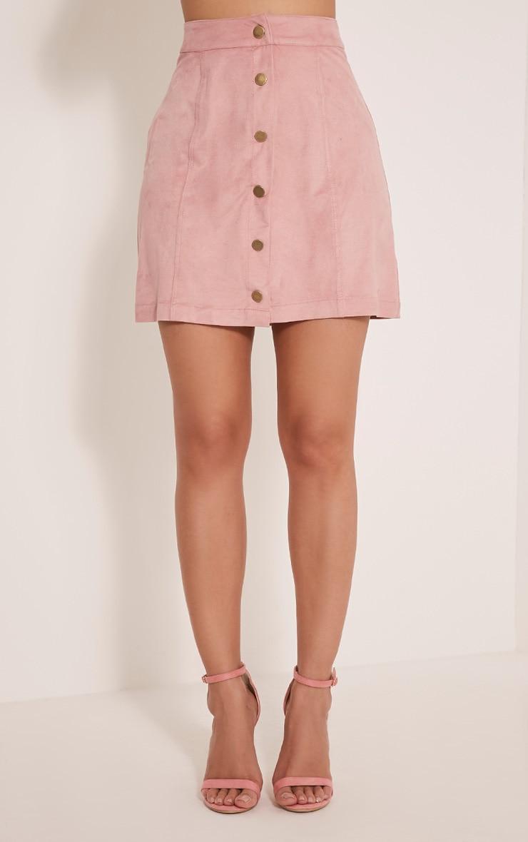 Cheryl Blush Faux Suede Button Skirt 3