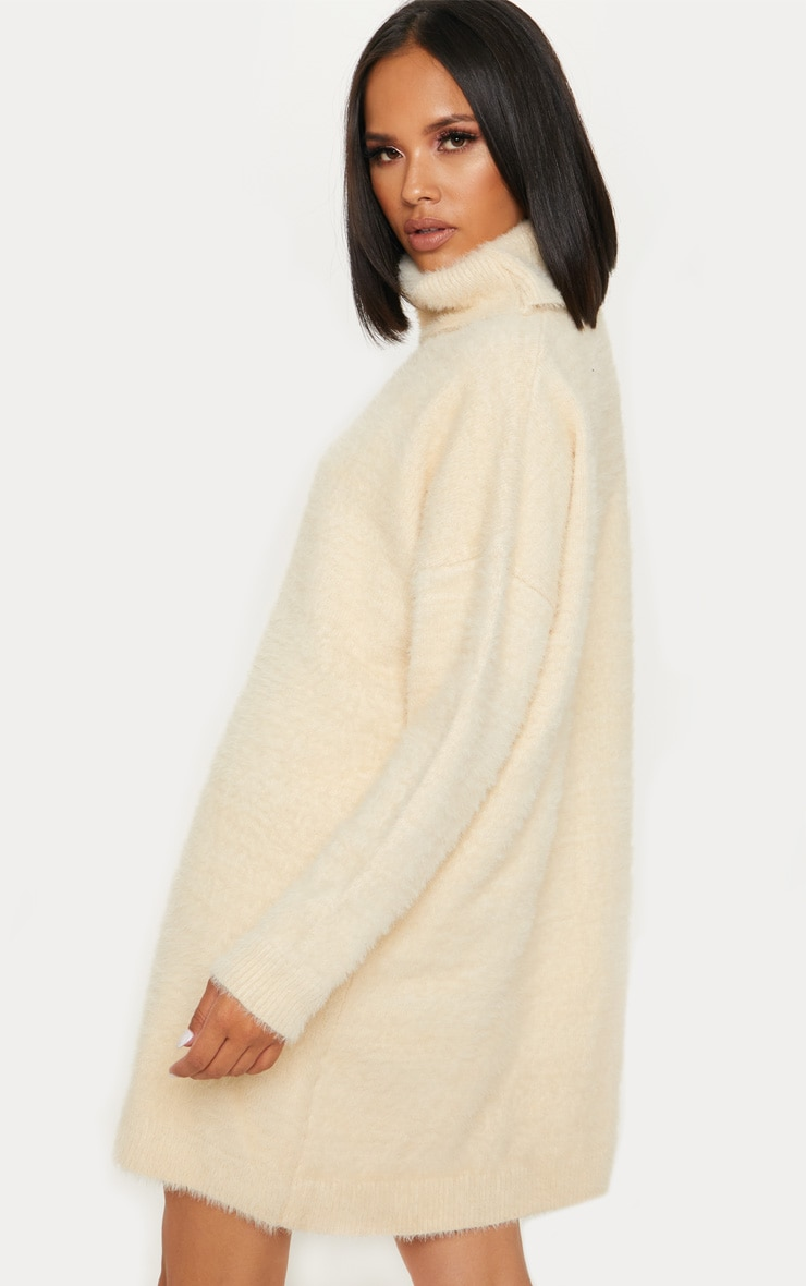 Cream Knitted High Neck Jumper Dress 2