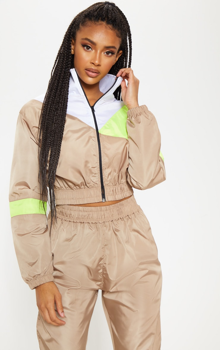 Camel Color Block Tracksuit Jacket 1