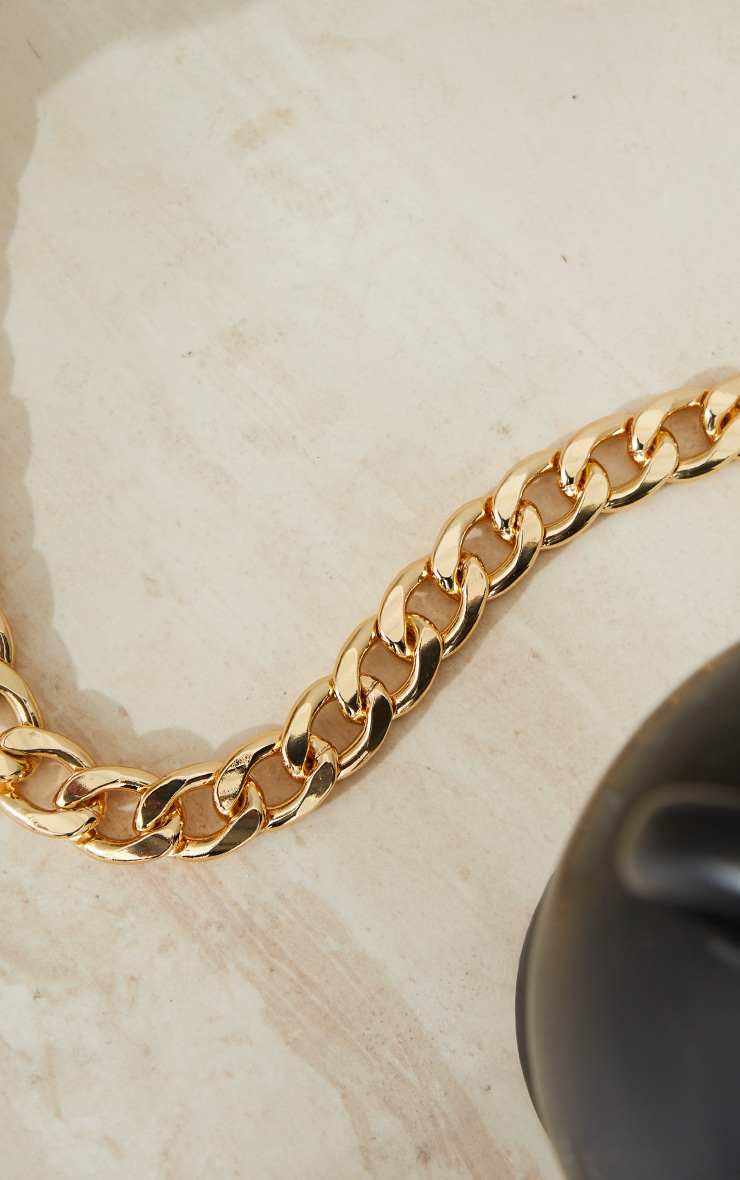 Gold Oversized Statement Curb Chain Necklace 4
