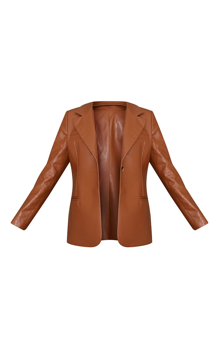 Toffee Faux Leather Blazer 6
