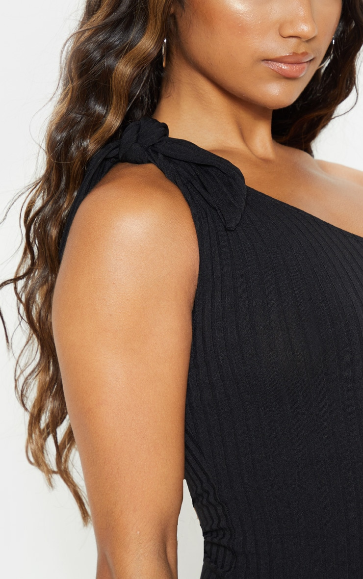 Black Rib One Shoulder Tie Sleeveless Bodysuit 5