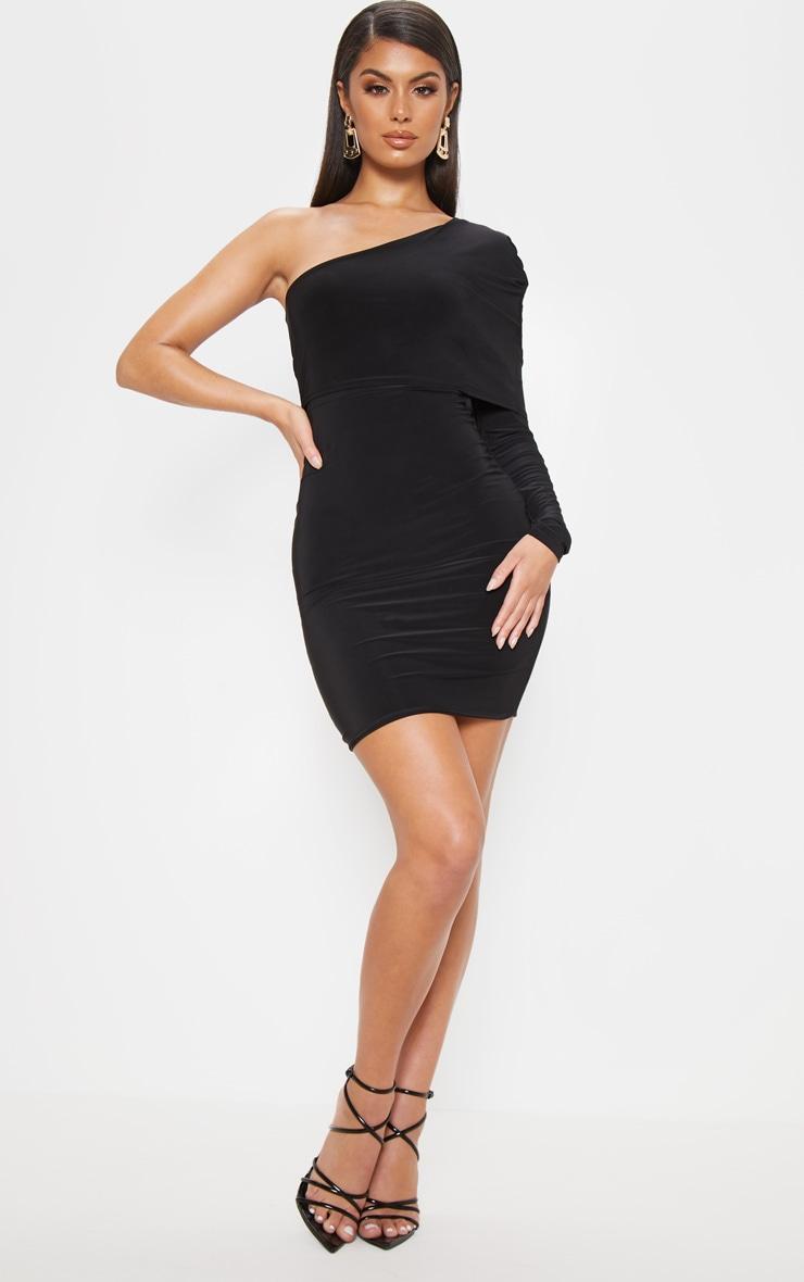 Black Slinky One Shoulder Cape Detail Bodycon Dress 1