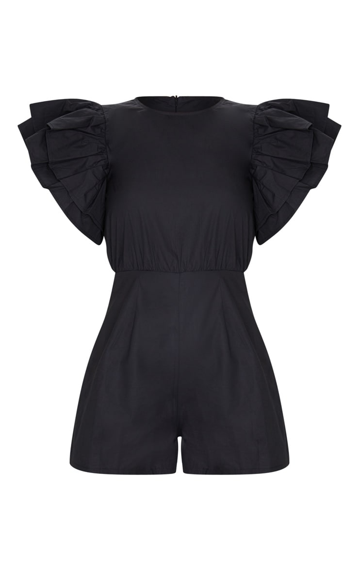 Black Frill Sleeve Woven Playsuit 5