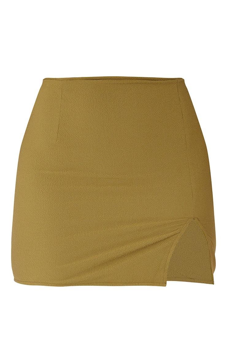 Olive Textured Woven Split Leg Mini Skirt 6