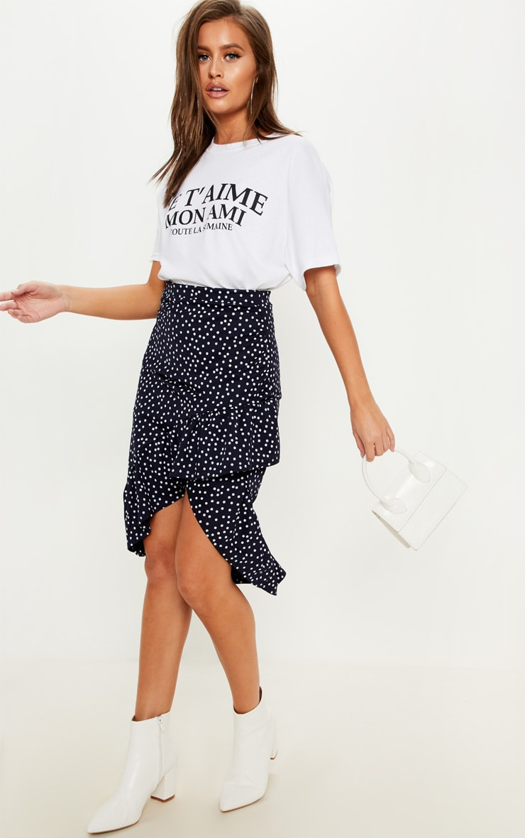 Navy Polka Dot Frill Midi Skirt
