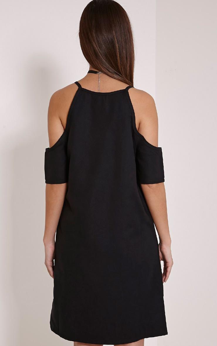 Noley Black Lace Up Cold Shoulder Dress 2