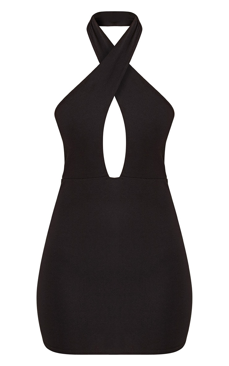 Wendina Black Cross Front Crepe Bodycon Dress 3