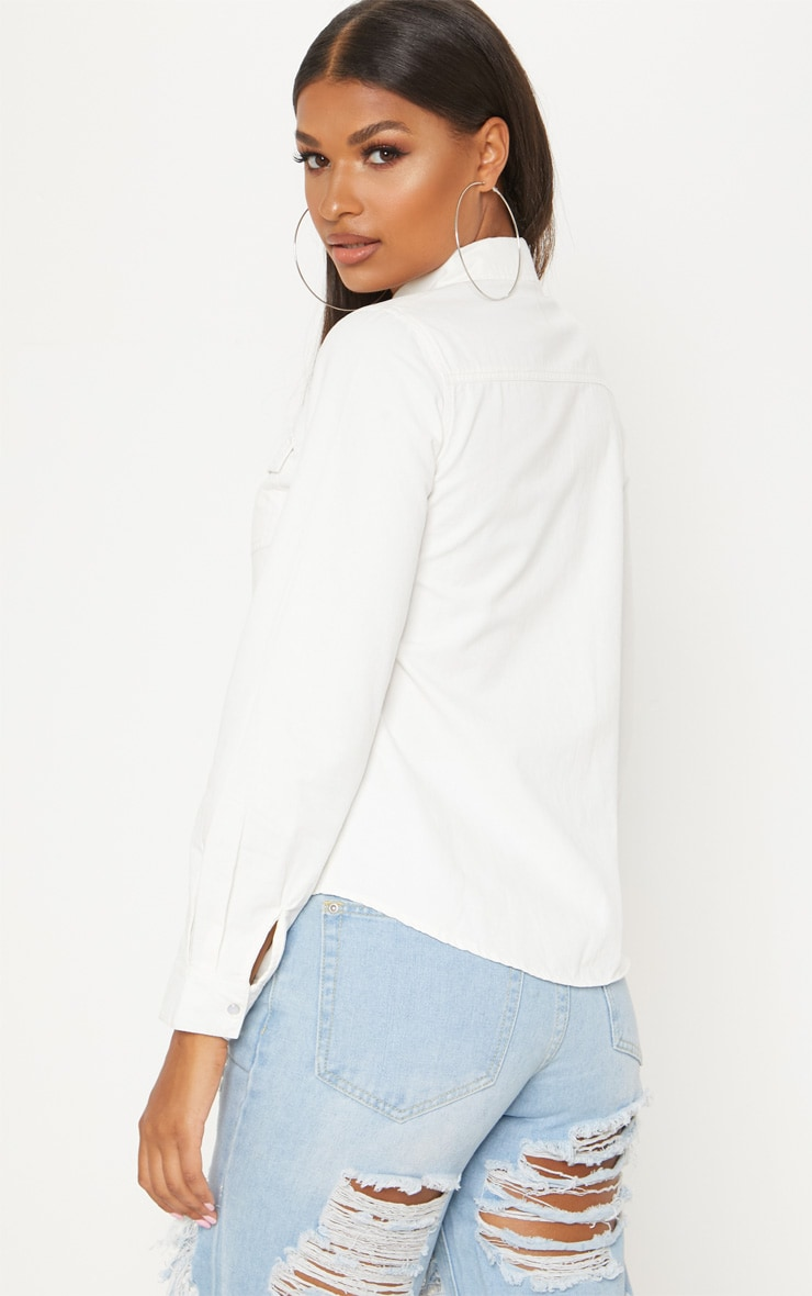 White Western Denim Shirt  2