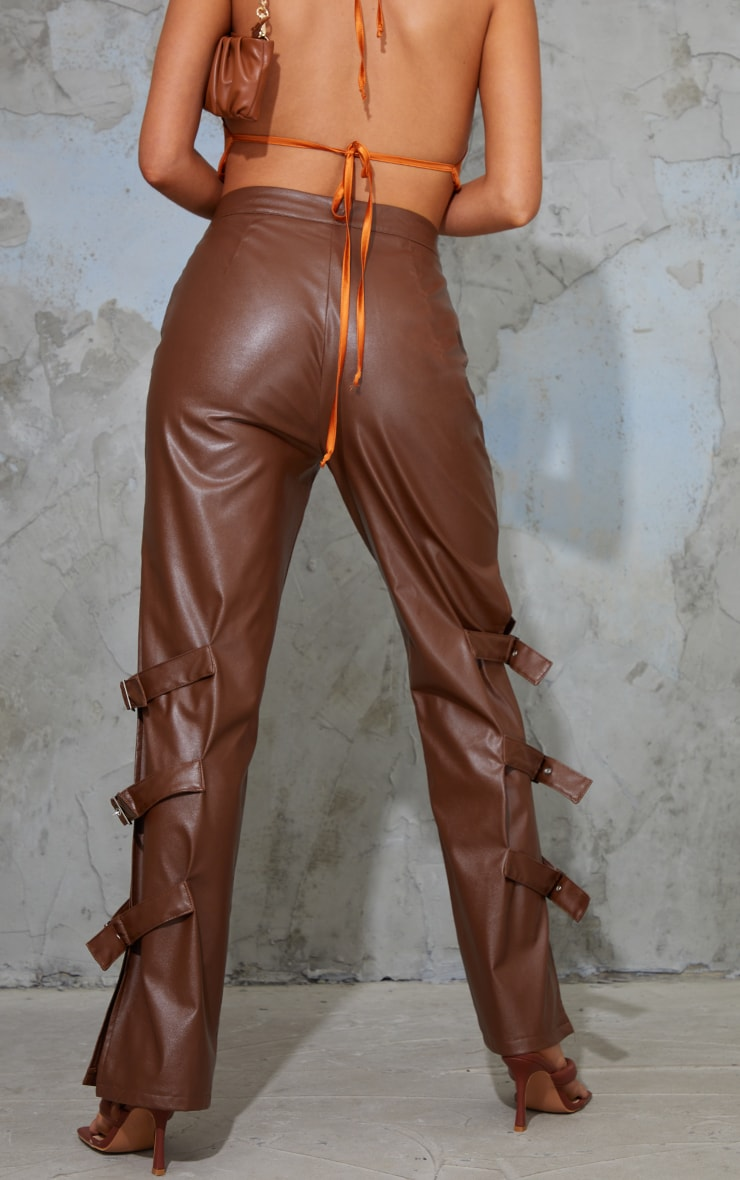 Chocolate Faux Leather Buckle Strap Detail Trousers 3