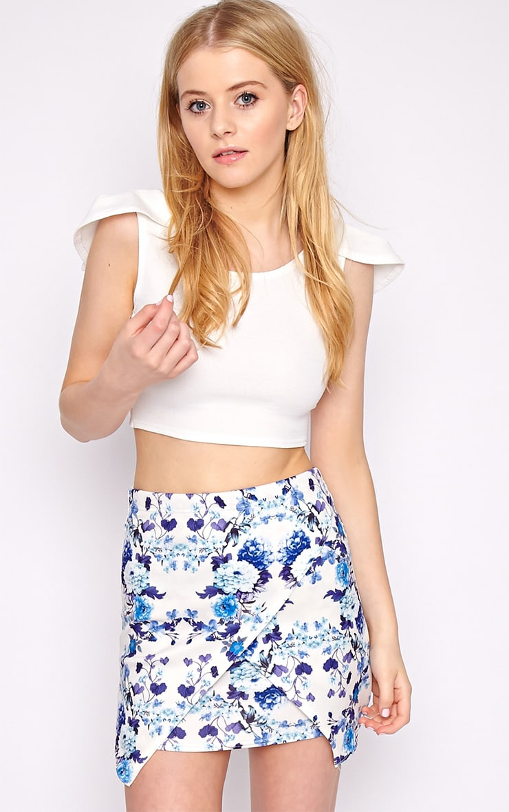 Effie Blue Floral Asymmetric Skirt 1