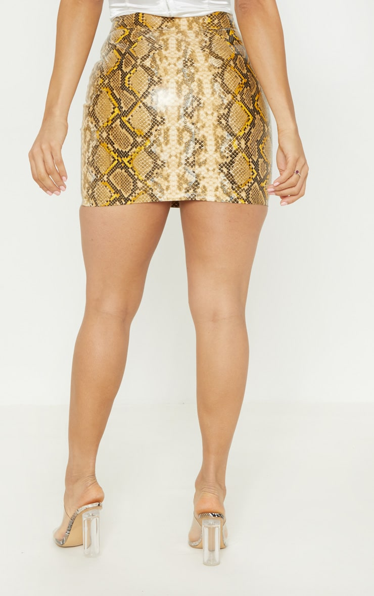 Brown Snakeskin Faux Leather Mini Skirt  4