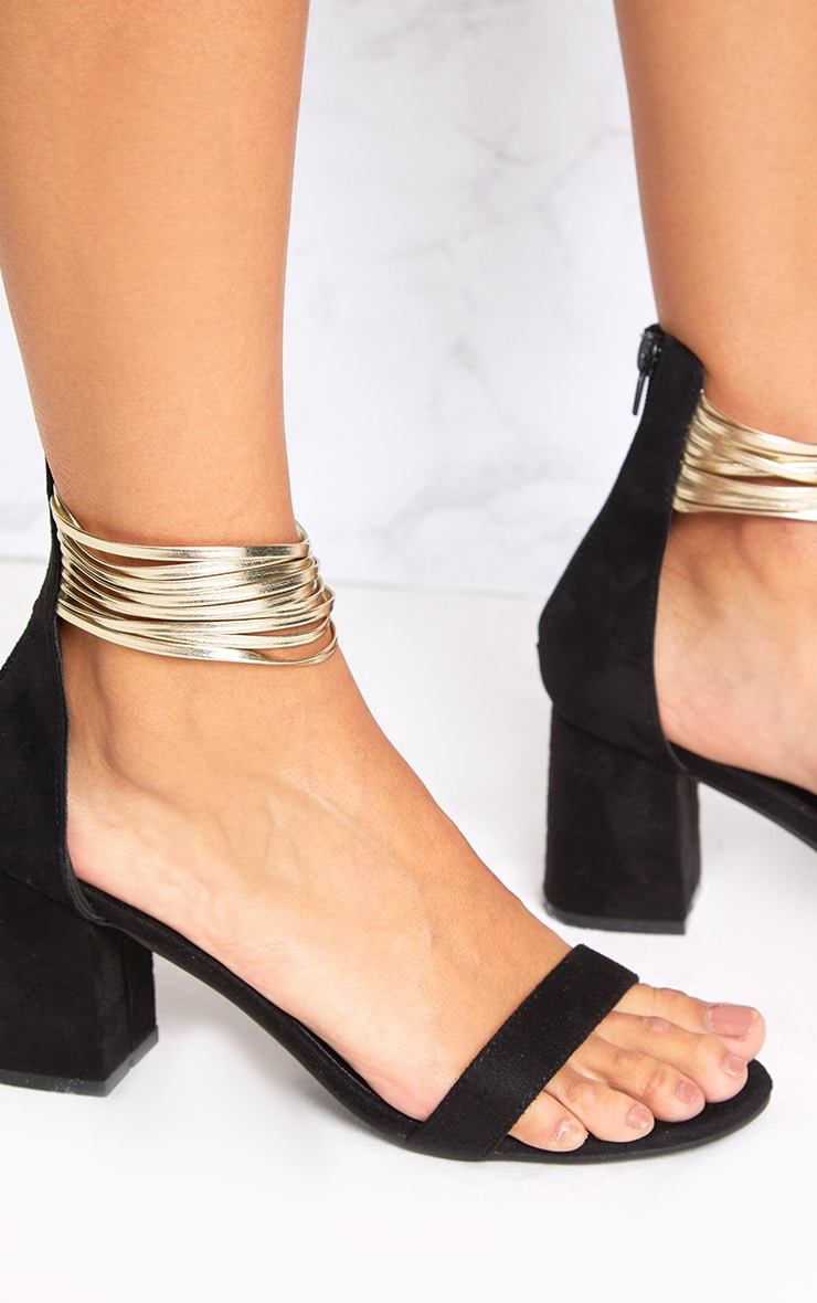 Naida Black Fine Strappy Block Heeled Sandals 5