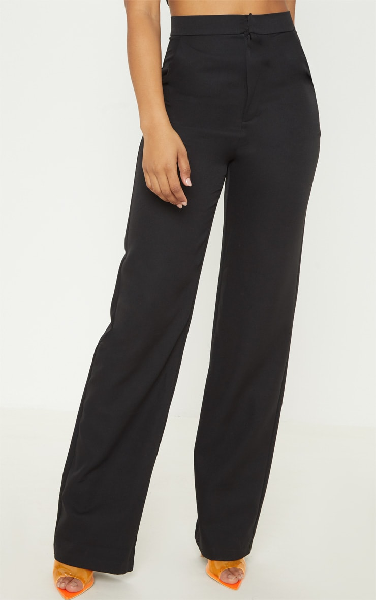 Tall Black Pocket Detail High Waisted Wide Leg Pants  2