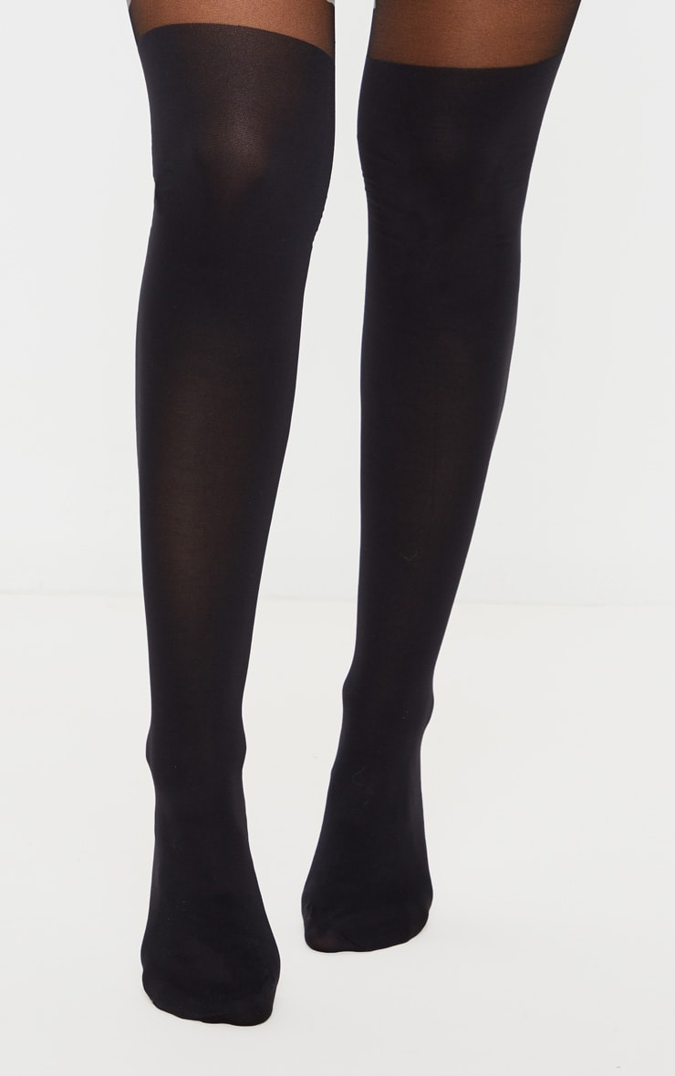 Black Plain Suspender Effect Tights 2