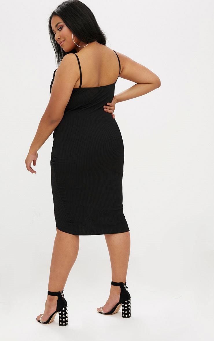 Plus Black Ribbed Cami Midi Dress 2