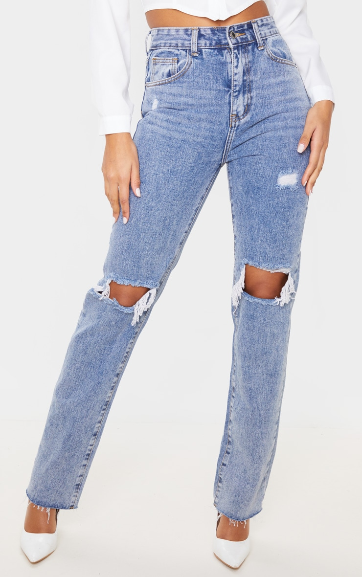 Vintage Wash High Rise Distressed Straight leg Jeans 2