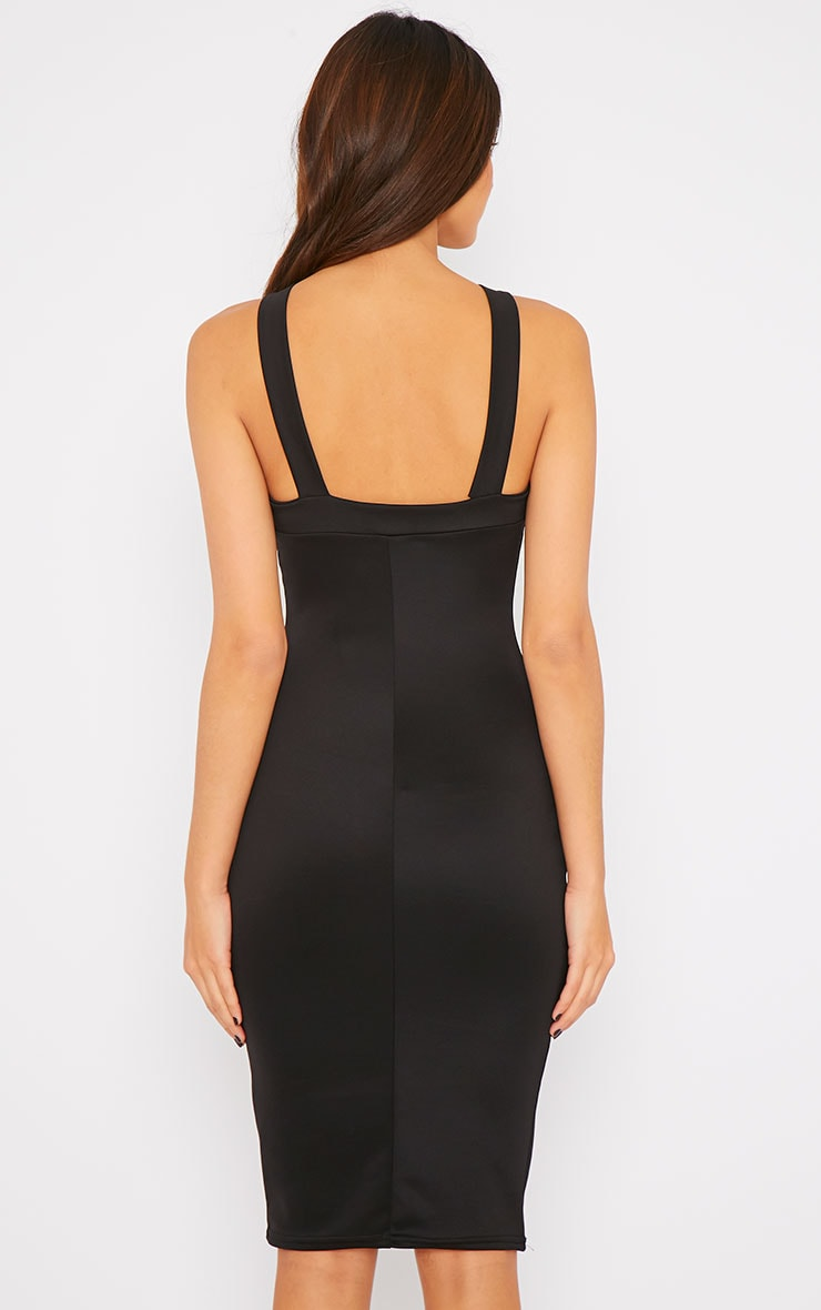 Melanie Black Cross Front Midi Dress 2
