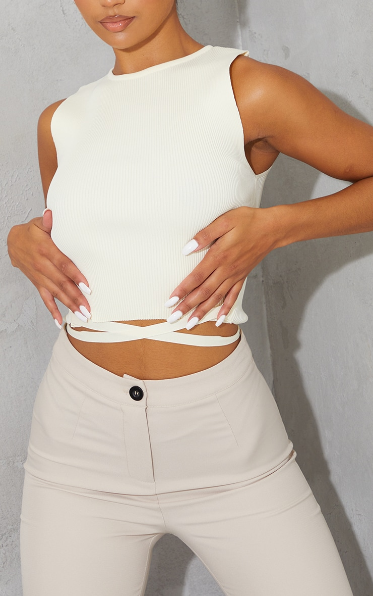 Cream Tie Waist Knitted Cropped Top 4