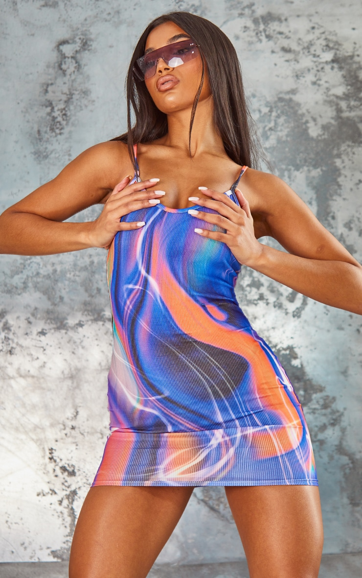 Multi Abstract Print Ribbed Strappy Bodycon Dress 1