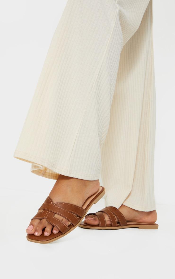 Tan Cross Strap Mule Flat Sandals 1