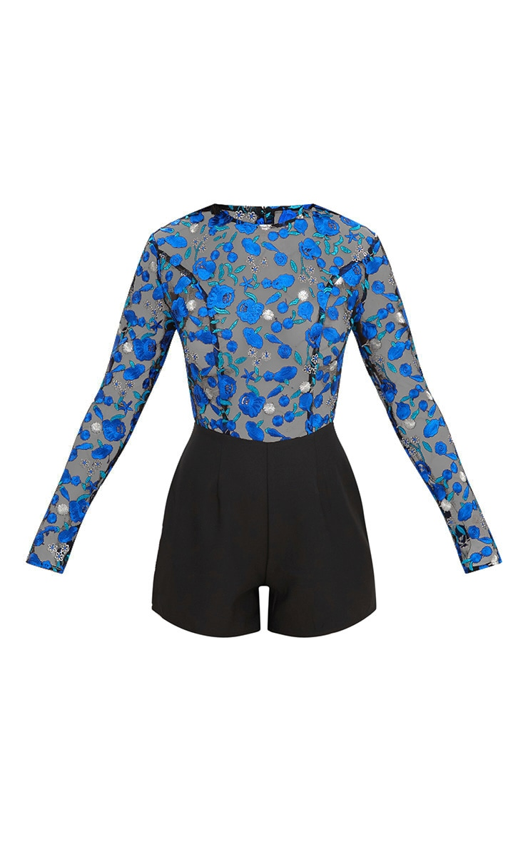 Cobalt Long Sleeve Embroidered Playsuit 3