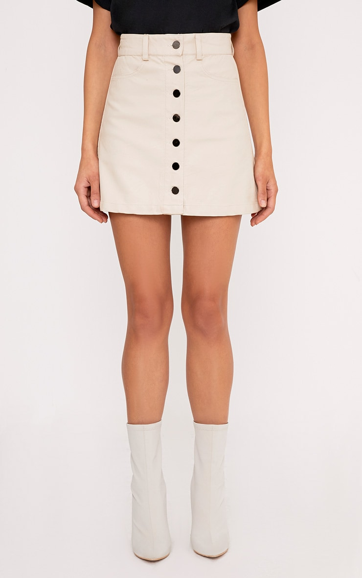 Ayanna Nude Faux Leather Button A-Line Mini Skirt 2
