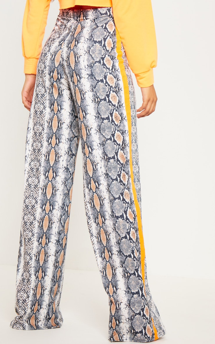 Tall Snake Print Neon Orange Stripe Pants  4