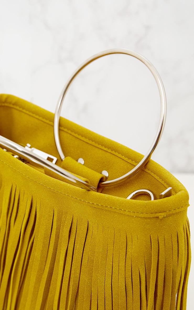 Yellow Fringed Hoop Handle Bag 3
