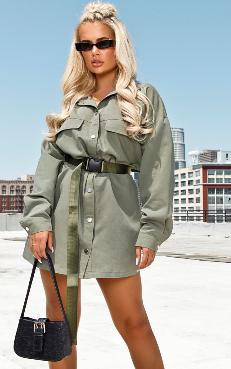 Khaki Cargo Oversized Popper Front Shirt Dress