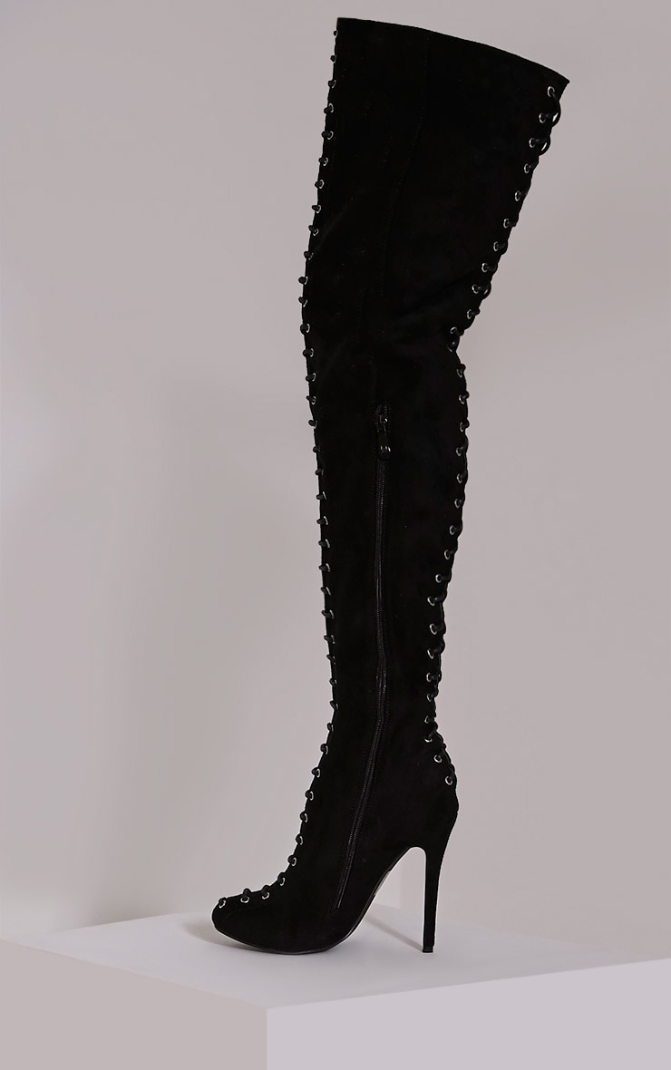 Nalah Black Suede Lace Detail Thigh High Boots 4