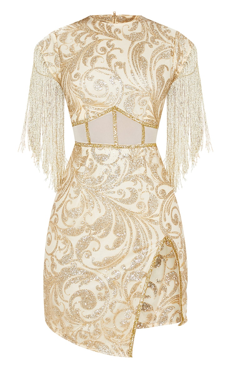 Gold Glitter Mesh Insert Tassel Sleeve Bodycon Dress 3