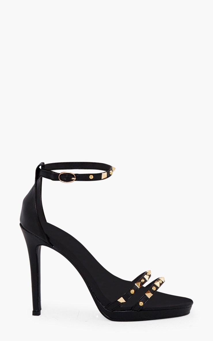 Black Studded Cross Strappy Heeled Sandals 3