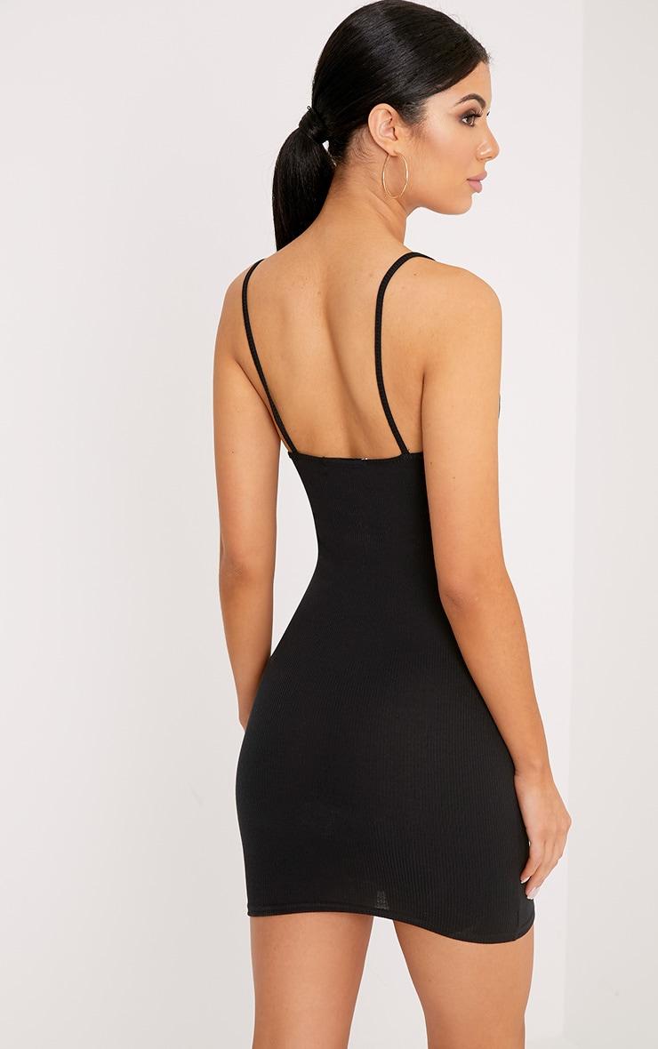 Mindie robe moulante noire côtelée à col en V et bretelles 2