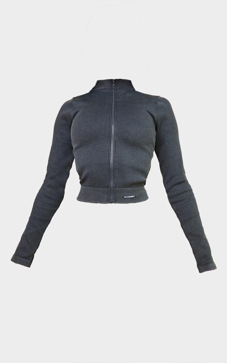 Grey Acid Wash Seamless Ribbed Zip Up Cropped Sports Jacket 5