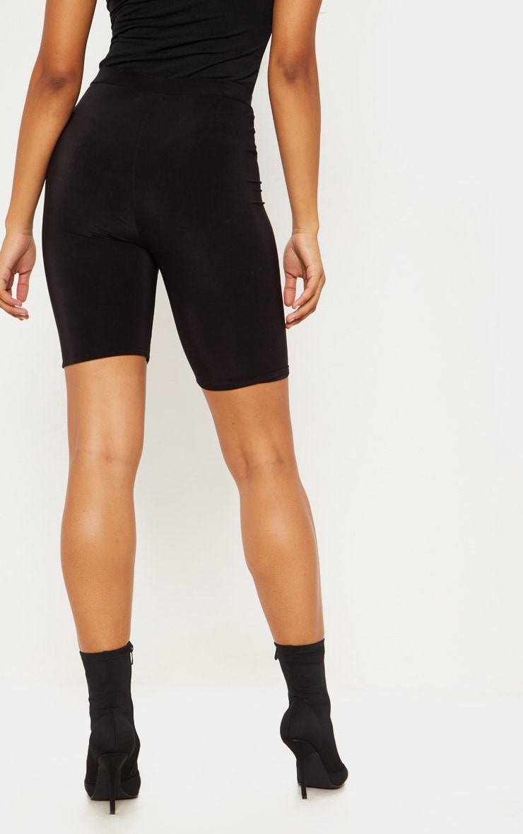 Tall Black Slinky High Waisted Bike Shorts 4